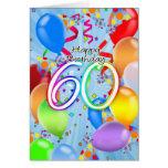 60th Birthday - Balloon Birthday Card - Happy Birt