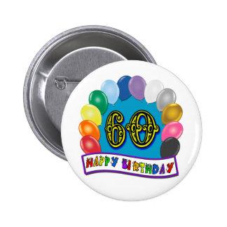 60th Birthday Balloons Happy Birthday Button