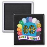 60th Birthday Balloons Happy Birthday Button Refrigerator Magnet