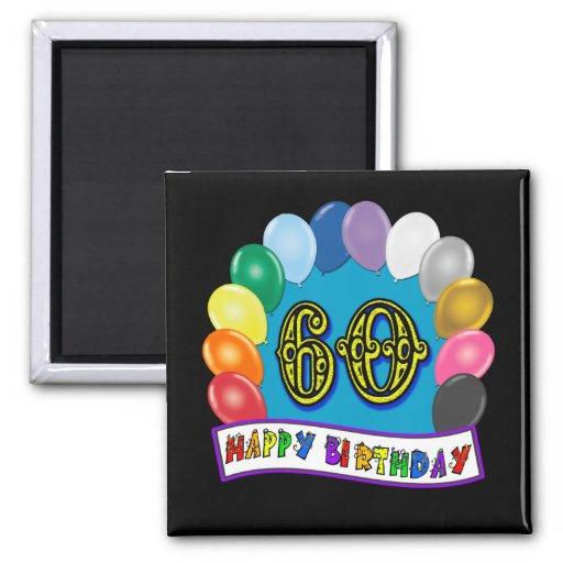 60th Birthday Balloons Happy Birthday Button Refrigerator Magnet