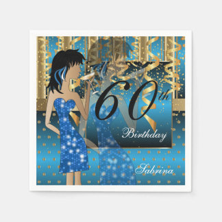 60th Birthday Bash Girl Party in Blue and Gold Napkin