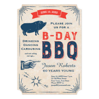 60th Birthday BBQ Party All American Vintage Card