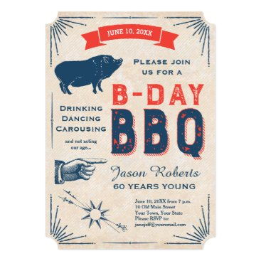 antiqueimages 60th Birthday BBQ Party All American Vintage Card