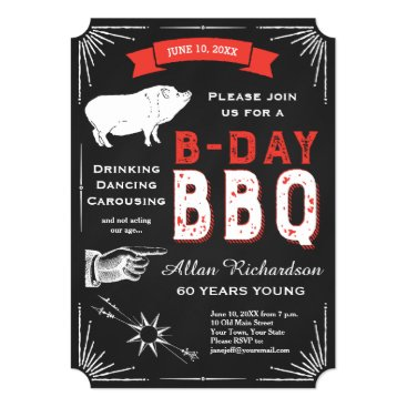USA Themed 60th Birthday BBQ Party Chalkboard USA Vintage Card