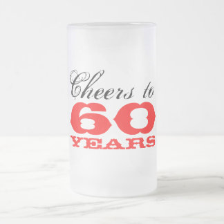 60th Birthday Beer Glass Gift for men Frosted Glass Beer Mug