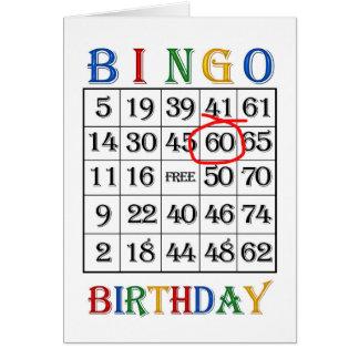 60th Birthday Bingo card