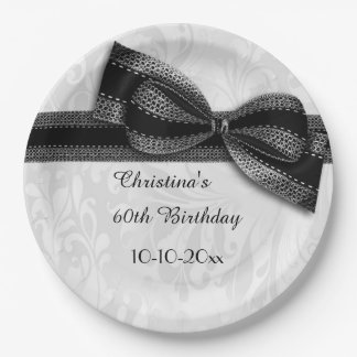 60th Birthday Black Damask and Faux Bow 9 Inch Paper Plate