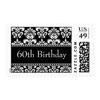 60th Birthday Black Damask Postage Stamps