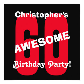 60th Birthday Black White Red Text Design A01 Card
