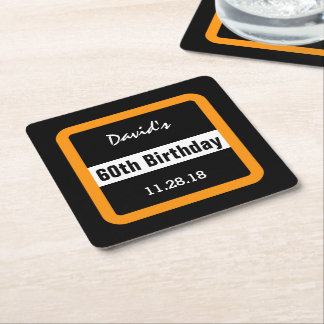 60th Birthday Black with Gold Frame Custom A10C Square Paper Coaster