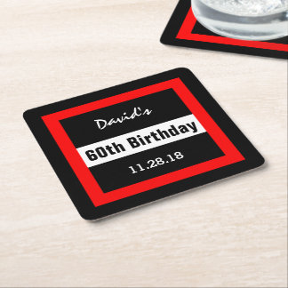 60th Birthday Black with Red Frame Custom A10A Square Paper Coaster