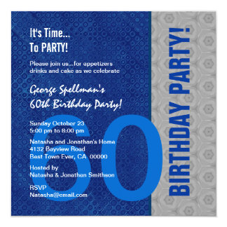60th Birthday Blue and Silver Pattern Recycled Card