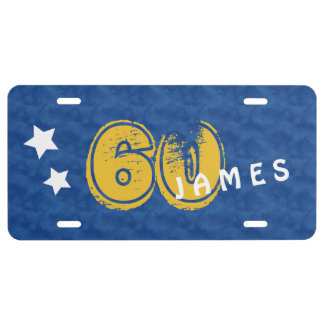 60th Birthday Blue Gold For Him Grunge Text A05 License Plate