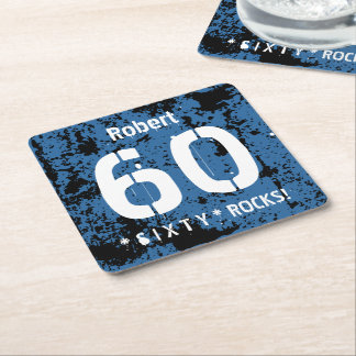 60th Birthday Blue Grunge Background A01 Square Paper Coaster