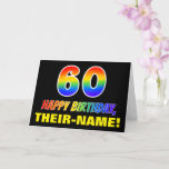 [ Thumbnail: 60th Birthday: Bold, Fun, Simple, Rainbow 60 Card ]