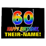 [ Thumbnail: 60th Birthday: Bold, Fun, Simple, Rainbow 60 Gift Bag ]