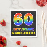 [ Thumbnail: 60th Birthday: Bold, Fun, Simple, Rainbow 60 Napkins ]