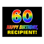 [ Thumbnail: 60th Birthday: Bold, Fun, Simple, Rainbow 60 Postcard ]