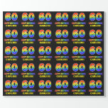 [ Thumbnail: 60th Birthday: Bold, Fun, Simple, Rainbow 60 Wrapping Paper ]
