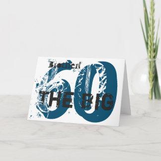 60th Birthday, brother, blue, black, white. Card