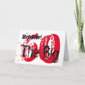 60th Birthday, brother, red, black text on white. Card