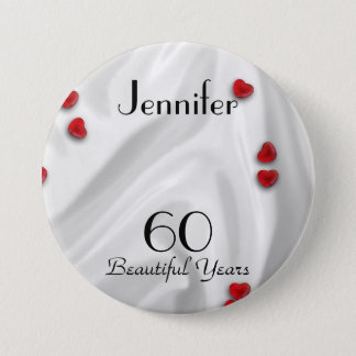 60th Birthday Button / Pin, Small Red Hearts