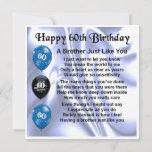 "60th Birthday Card  -  Brother<br><div class=""desc"">A great card for a brother on his 60th Birthday</div>"