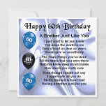 "60th Birthday Card  -  Brother<br><div class=""desc"">A great card for a brother on his 60th Birthday</div>"