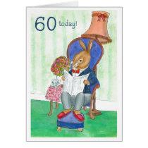 60th Birthday Card - Mr Rabbit
