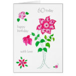 60th Birthday Card - Pink Flowers