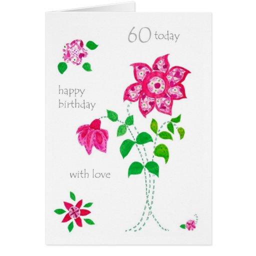 60th Birthday Card - Pink Flowers