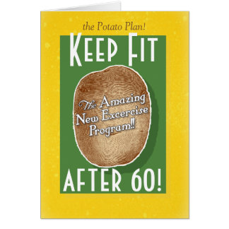 60th Birthday card: Potato Bag Fitness Program Card