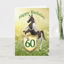 60th birthday card with a rearing horse