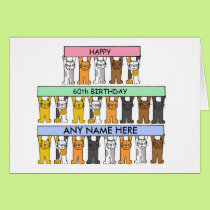60th Birthday card with cats to customise.