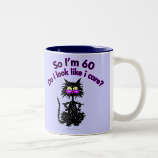 60th Birthday Cat Gifts Two-Tone Coffee Mug