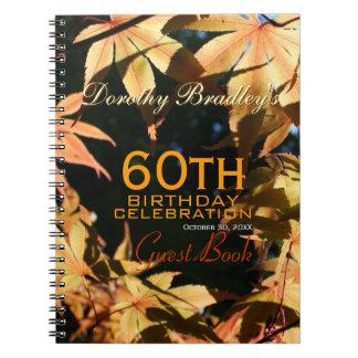 60th Birthday Celebration Autumn Custom Guest Book Spiral Notebook