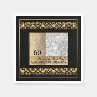 60th Birthday Celebration Photo Paper Napkins