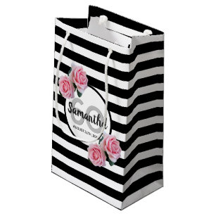 60th Birthday Chic Pink Roses Black White Stripes Small Gift Bag