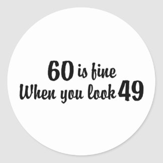 60th Birthday Classic Round Sticker