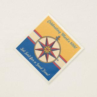 60th Birthday Coastal Lifestyle Nautical Theme Napkin