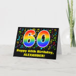 [ Thumbnail: 60th Birthday: Colorful Music Symbols & Rainbow 60 Card ]
