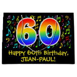 [ Thumbnail: 60th Birthday - Colorful Music Symbols, Rainbow 60 Gift Bag ]