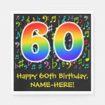[ Thumbnail: 60th Birthday - Colorful Music Symbols, Rainbow 60 Napkins ]