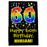 [ Thumbnail: 60th Birthday: Colorful Stars Pattern & Rainbow 60 Gift Bag ]