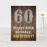 [ Thumbnail: 60th Birthday: Country Western Inspired Look, Name Card ]