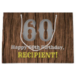 [ Thumbnail: 60th Birthday: Country Western Inspired Look, Name Gift Bag ]