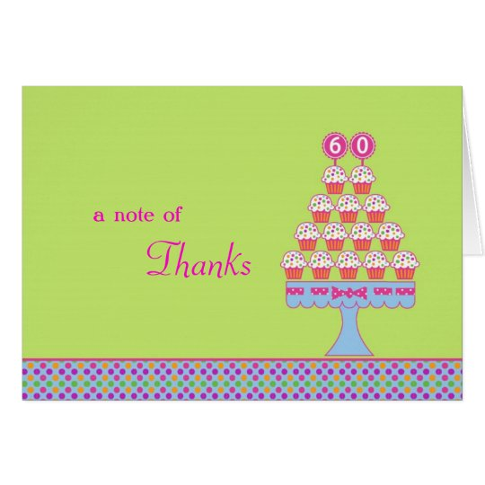 60th Birthday Cupcakes Thank You Card