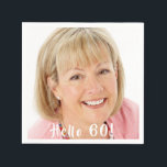 "60th birthday custom photo hello 60 napkin<br><div class=""desc"">Template for Your photo.  White text overlay: Hello 60!  A napkin for a 60th birthday party.</div>"