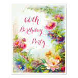60th Birthday Dahlias and Peonies Victorian Garden 4.25x5.5 Paper Invitation Card