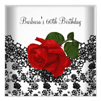 60th Birthday Damask Lace Black White RED Rose Card